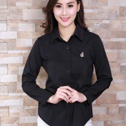 """เสื้อเชิ้ตสีดำผู้หญิง """"ใส่ทำงานได้""""เสื้อคอปกสีดำทรงเรียบร้อย ขายราคาส่งประตูน้ำ"""